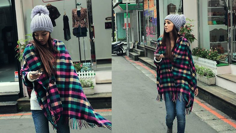 Puffy Fringed Check Scarf